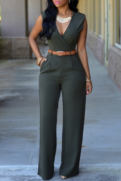 Women's Sleeveless V Neck Long Loose Jumpsuits Rompers