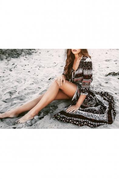 Women's V-Neck Buttons Down Tribal Print Beach Maxi Dress