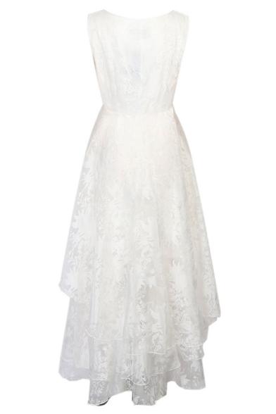 Women's White Floral Print Gauze Panel Multi Layer Sleeveless Hi-lo Dress