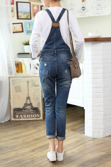 da14454fc317 Fashion Ripped High Waist Skinny Denim Overalls - Beautifulhalo.com