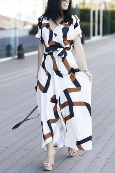 Fashion V-Neck Wrap Front Belt Waist Split Color Block Maxi Dress
