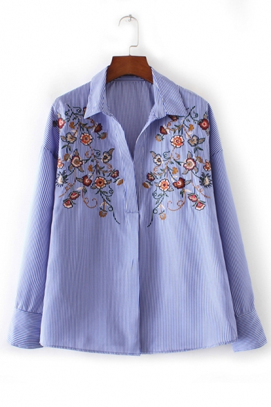 New Stylish Lapel Embroidery Floral Pattern Striped Shirt