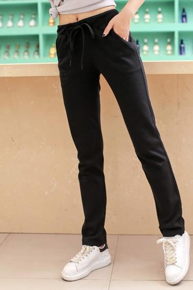 Women's Fashion Drawstring Mid Waist Plain Sports Pants