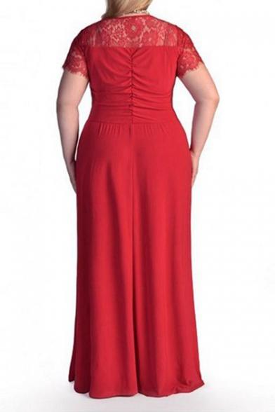 Women's Oversize Lace Patched Short Sleeve V-Neck Plain Maxi Dress