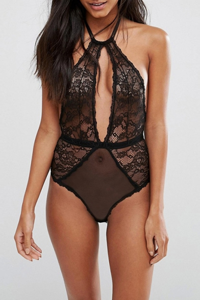 f875008fba Sexy Sheer Halter Cutout Front Open Back Sleeveless Lace Bodysuit -  Beautifulhalo.com