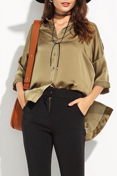 bb080794238569 New Stylish High Low Hem Single Breasted Dropped Half Sleeve Plain Button  Down Shirt