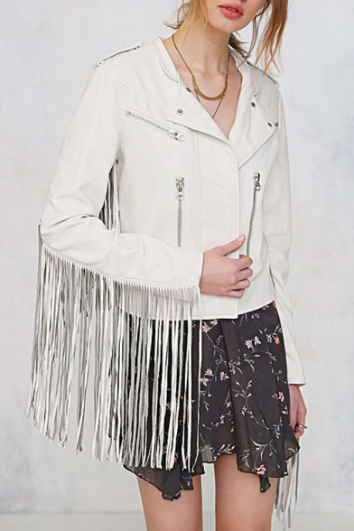 Women's Fashion Lapel Collar Long Sleeve Tassel Patched Sleeve Leather Biker Jacket