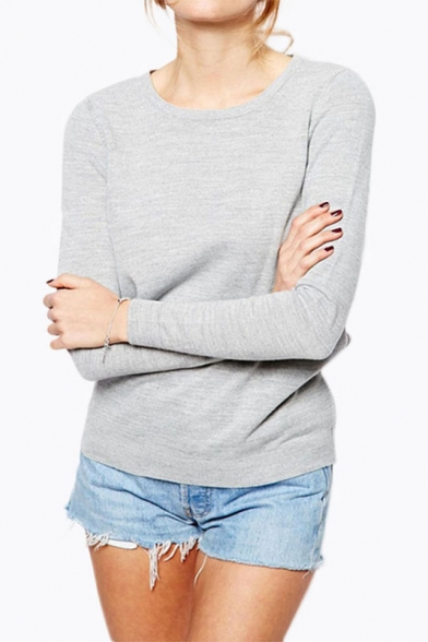 Women's Fashion Tie Hollow Out Back Round Neck Long Sleeve Basic Knit Sweater