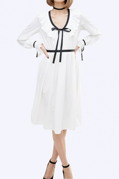 Ruffle Scoop Neck and Cuffs Long Sleeve Belt Waist Midi Dress