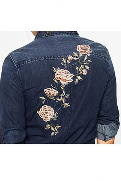New Womens Ladies White Floral Embroidered Button Down Shirt Blouse Tops