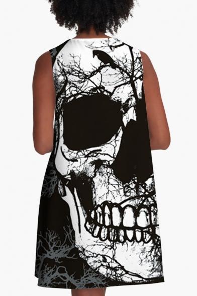 Funny 3D Skull Printed Sleeveless Boat Neck Mini A-Line Dress