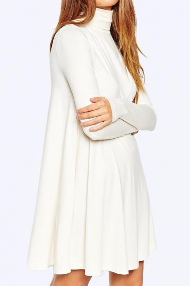 Women's Slim High Neck Long Sleeve Plain Mini Swing Dress