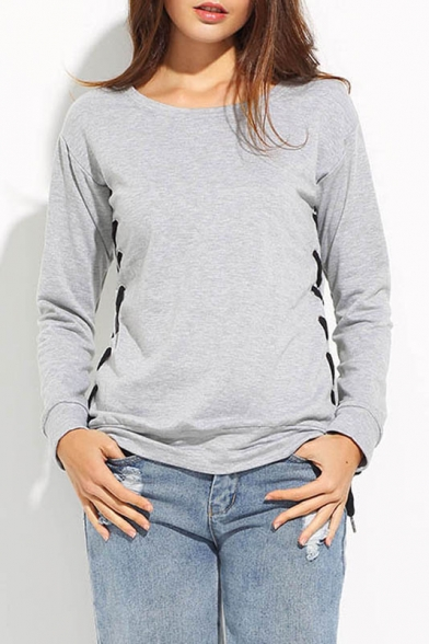 Round Sweatshirt Lace Women's Sports Neck Up Plain Raglan Sleeve Side Casual with 6wqFxTCw