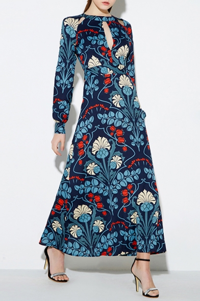 86a0615d92 Women s Fashion Hollow Round Neck Long Sleeve Floral Print Retro Party  Dress Maxi Dress