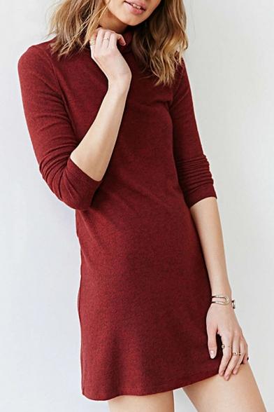 Women's Turtleneck Long Sleeve Plain Basic Knit Mini Sweater Dress