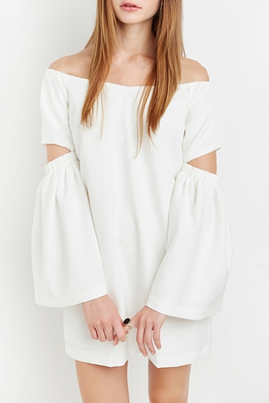 New Arrival Boat Neck Off the Shoulder Hollow Sleeve Chiffon Swing Mini Dress