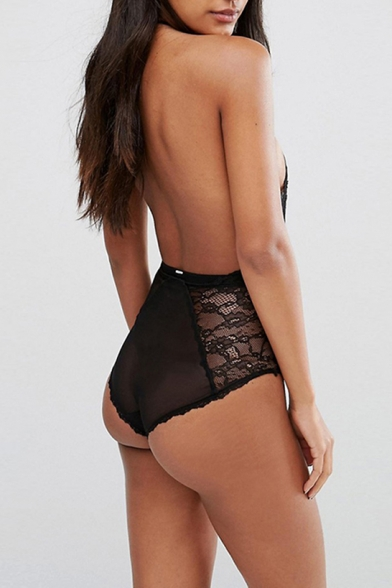 1623788261 ... Sexy Sheer Halter Cutout Front Open Back Sleeveless Lace Bodysuit ...