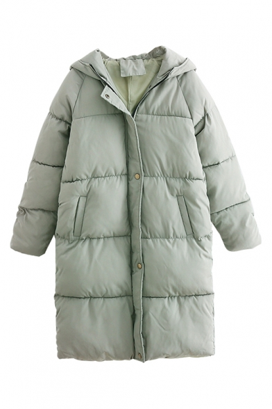 5de74495565 Fashion Plain Hooded Long Sleeve Zipper Placket Tunic Padded Coat ...
