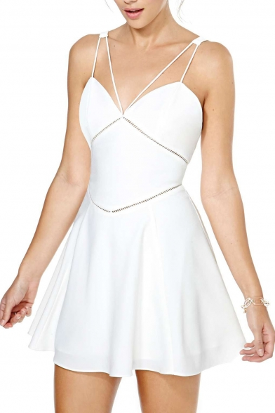Women's Fashion Multi Straps Open Back Skater Dress A-Line Mini Slip Dress