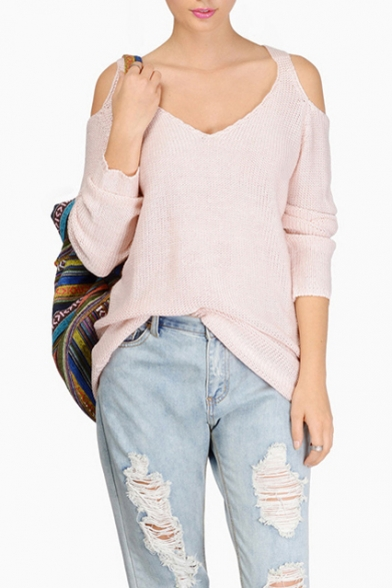 Women's Fashion Cold Shoulder V Neck Long Sleeve Casual Loose Knit Sweater