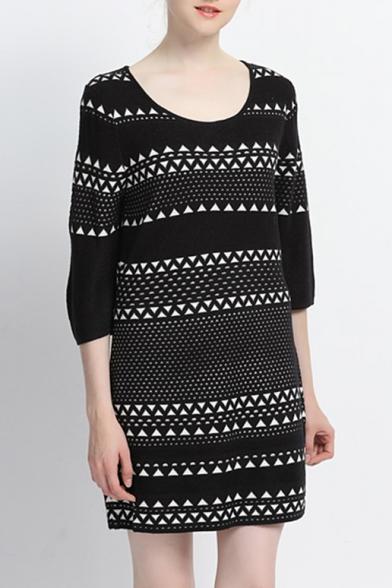Fashion Round Neck 3/4 Length Sleeve Geometric Striped Mini Sweater Dress