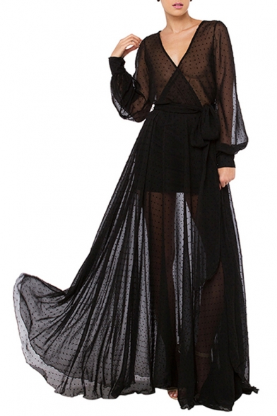 a75ef08ca2c2 Sexy Women s Sheer V-Neck Lantern Long Sleeve Polka Dots Chiffon Mesh Maxi  Dress