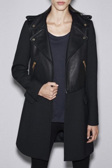 Women's Notched Lapel Half Zipper Placket Long Sleeve Plain Tunic Coat