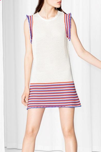 New Stylish Cutout Striped Sleeveless Color Block Knitted Dress