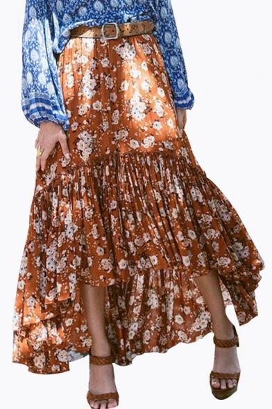 Fashion Boho Style Ruched High Low Hem Floral Printed Asymmetric Skirt Beautifulhalo Com