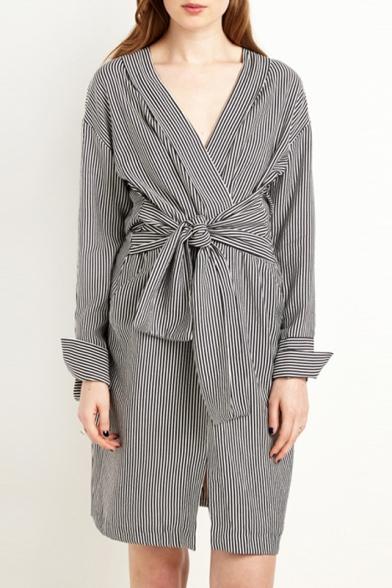 New Stylish V-Neck Wrap Front Belt Waist Striped Long Sleeve Split Front Mini Dress