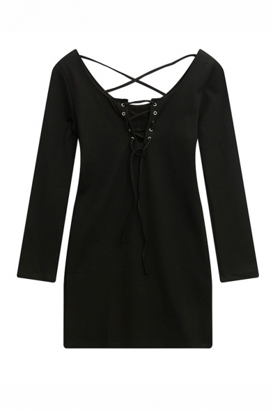 Sexy Tied V-Neck Crisscross Back Long Sleeve Plain Mini Dress