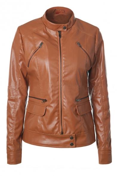 Fashion Detachable Drawstring Hooded Zipper Placket Long Sleeve Plain PU Jacket