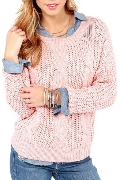 Women's Sweet Classic Cable Knit Round Neck Long Sleeve Fashion Pullover Sweater