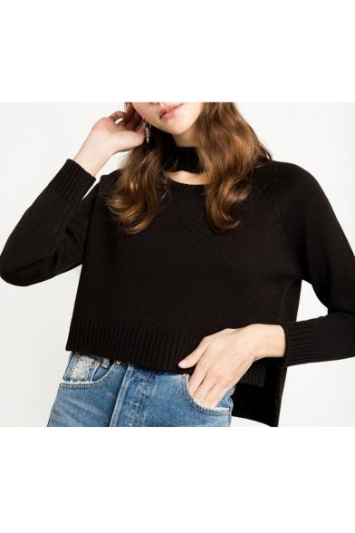 Cutout Round Neck Split Sides Long Sleeve Plain Sweater