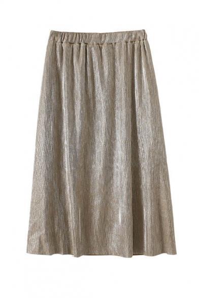 Elastic Waist Plain Midi A-Line Pleated Skirt