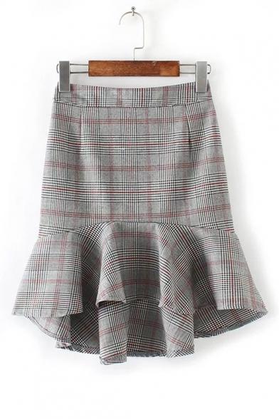6e1cac70aa New Arrival Color Block Plaid Pattern Ruffle Trim Bodycon Mini Skirt -  Beautifulhalo.com
