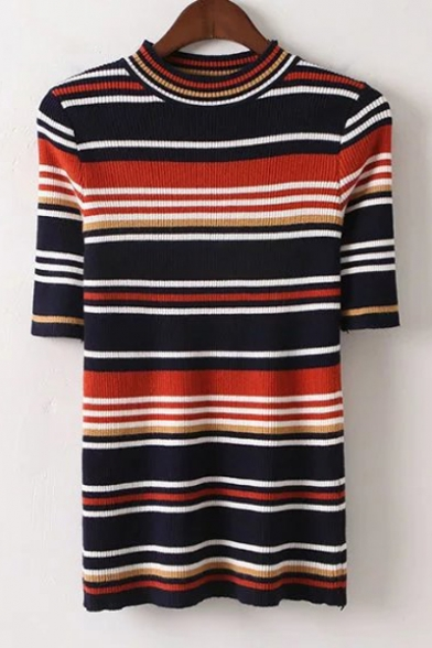 New Fashion Round Neck Short Sleeve Striped Print Slim Knit Sweater