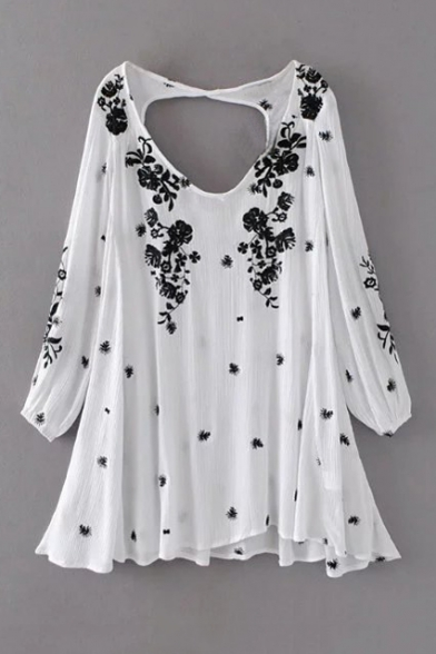 New V Neck Open Back Long Sleeve Floral Embroidery Mini Flared Dress