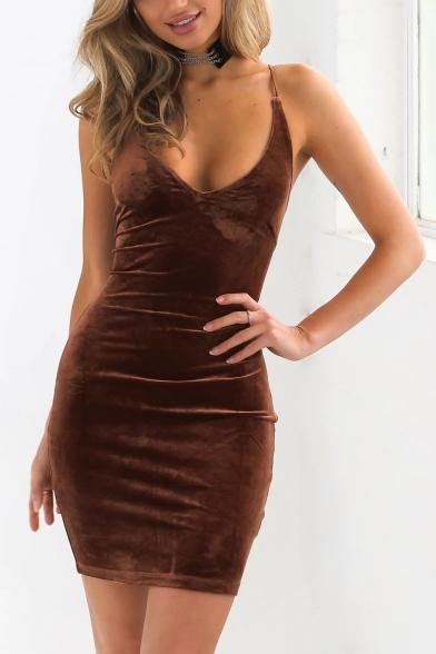 Sexy Spaghetti Straps Sleeveless Crisscross Cutout Back Plain Mini Bodycon Dress