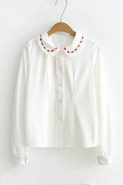 96b0fa24e New Arrival Girls' Floral Trim Patched Peter-Pan Collar Long Sleeve Shirt