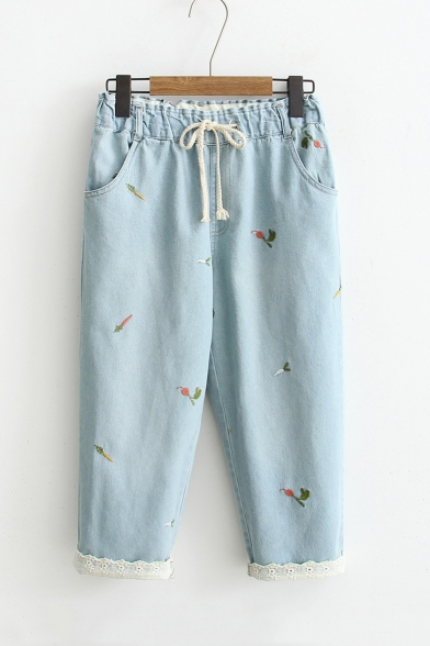 New Stylish Drawstring High Waist Embroidery Pattern Lace Cuffs Cropped Jeans
