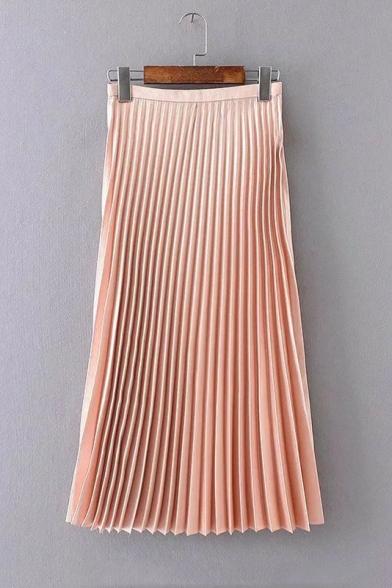 High Waist Zip Side Plain Maxi Pleated Skirt