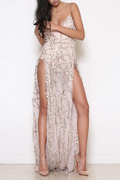 High Sexy Maxi Beach Straps Sequined Dress Split Sides Spaghetti Sleeveless Hw1dOqw