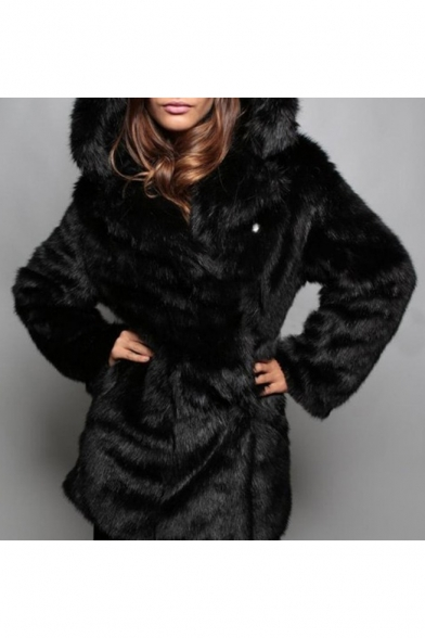 Chic Bear Ear Hooded Long Sleeve Plain Tunic Faux Fur Coat