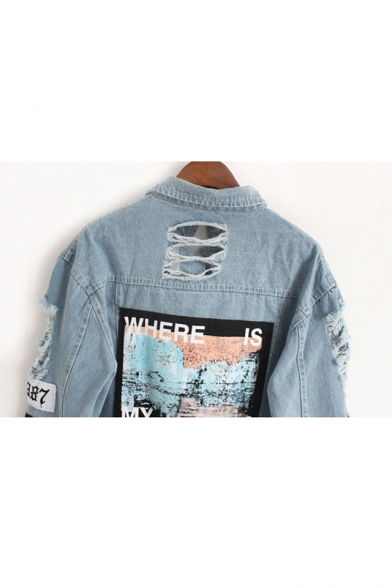 New Arrival Stylish Lapel Collar Long Sleeve Ripped Patched Single Breasted Denim Jacket