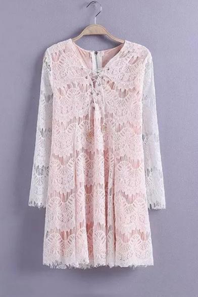 Sexy Drawstring V-Neck Zip-Back Long Sleeve Lace Mini A-Line Dress