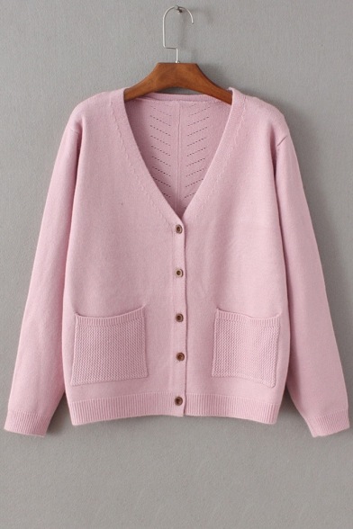 Womens V Neck Long Sleeveons Down Plain Knit Cardigan With Double Pockets