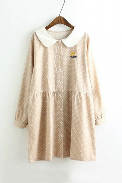 Contrast Peter Pan Collar Single Breasted Polka Dots Embroidery Pattern Mini Dress