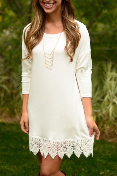 Elegant Floral Pattern Hem 3/4 Length Sleeve Plain Mini Sweater Dress