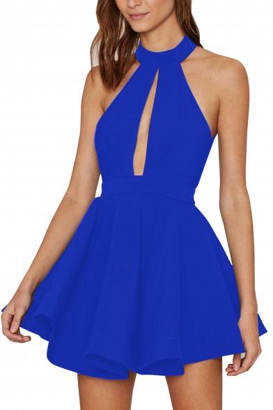 Sexy Halter Cutout Front Hollow Mesh Back Sleeveless Plain Mini Party Dress